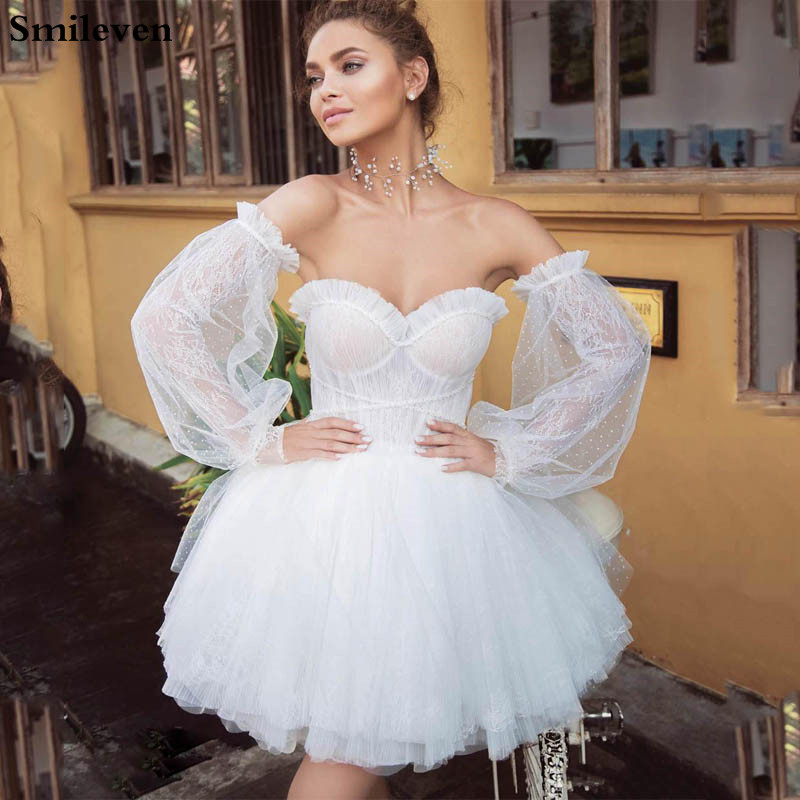 Smileven Puff Sleeve Detachable Short Wedding Dress 2019 Sweetheart A Line Mini Boho Bride Dresses Strapless Beach Wedding Gowns