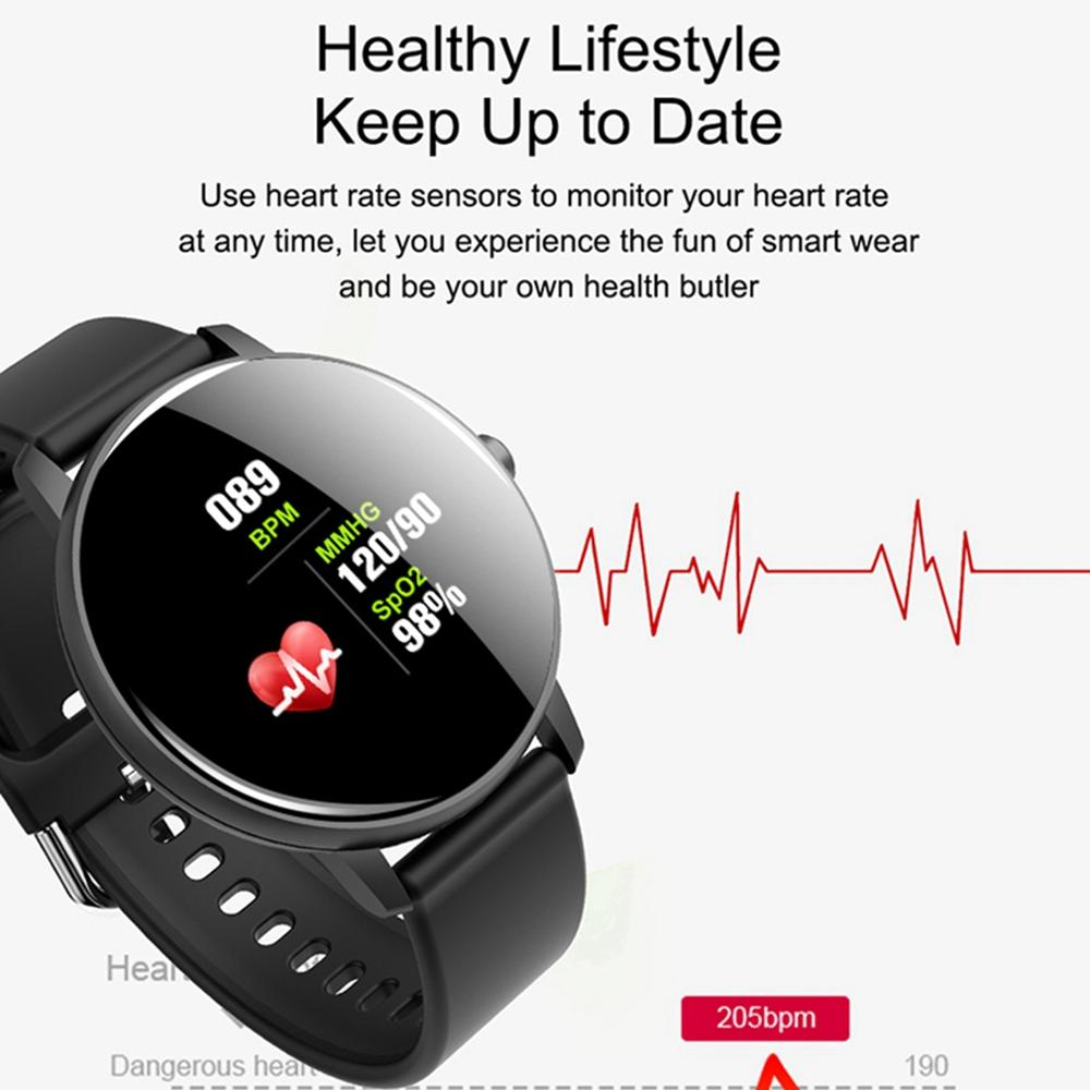 LEMFO Q5 plus Smart Watch Men Women Full Round Touch Blood Pressure Heart Rate Monitor Sport Call Reminder Smartwatch Men