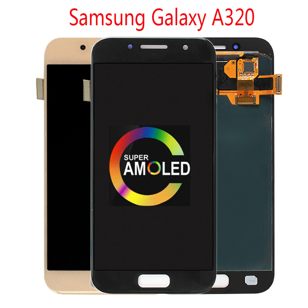 Original Super AMOLED For <font><b>Samsung</b></font> <font><b>Galaxy</b></font> <font><b>A3</b></font> 2017 <font><b>LCD</b></font> Display Touch Screen Digitizer Assembly A320 A320M SM-A320F A320FD <font><b>LCD</b></font> image