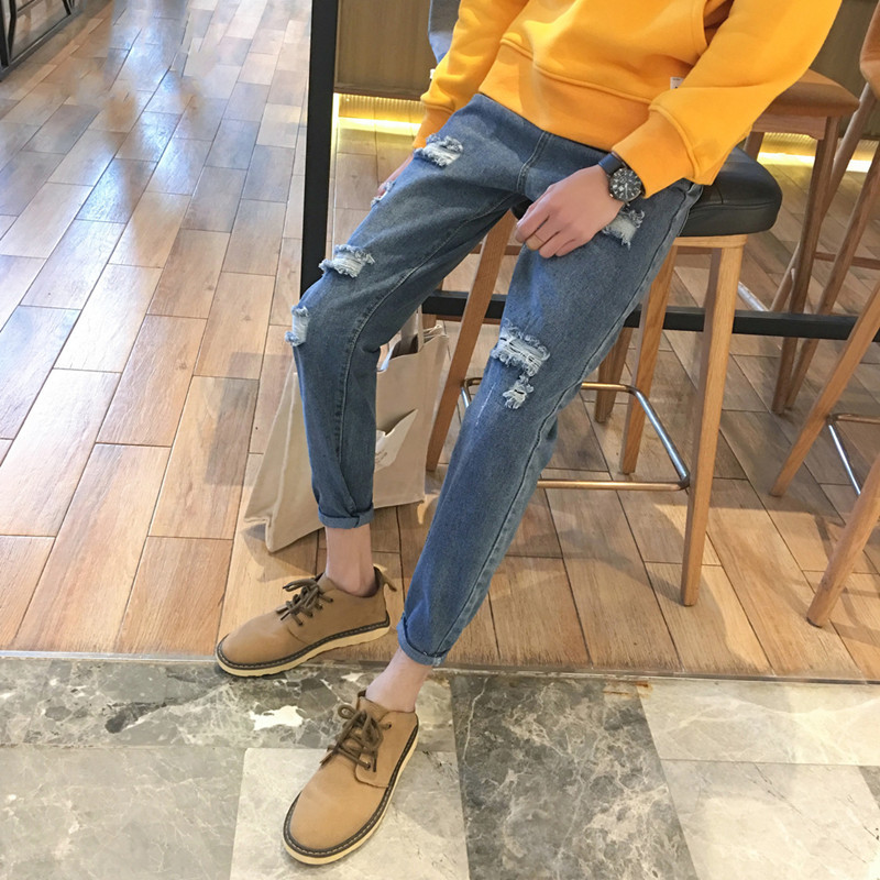 New Style Beggar With Holes Jeans Korean-style Men Casual Versatile Harem Skinny Pants Japanese-style Fashion Man Pants