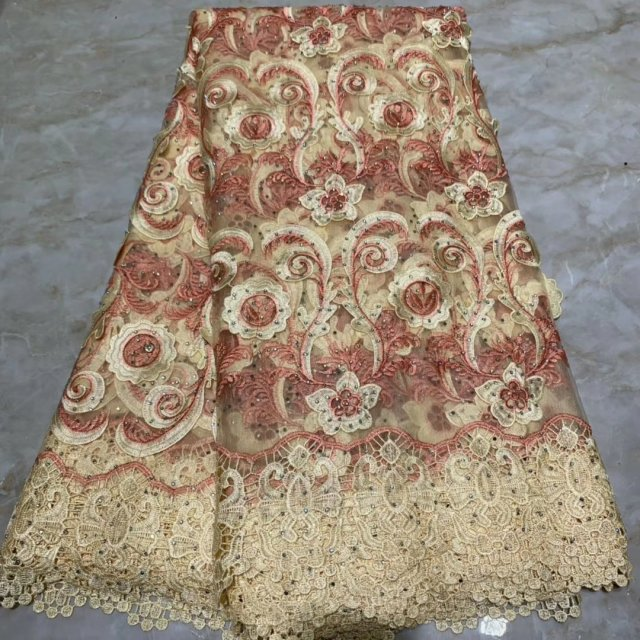 Gold Veritable French Lace Swiss Tulle Lace Fabric Floral Embroidery African Nigerian Sewing High Quality For Lace Dress