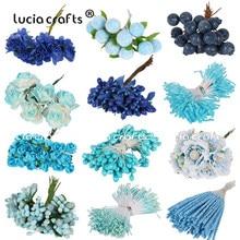 6/10/12/50/70/90pcs Mix Blue Flower Cherry Stamen Berries Bundle DIY Christmas Wedding Cake Gift Box Wreaths Decor C0302