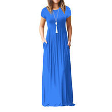Summer Maxi Long Dress Women Femme Boho Long Dresses Plus Size Casual Pockets New Short Sleeve O-neck Solid Dress Beach Vestidos