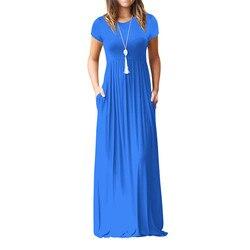 Vestido longo boho feminino, verão, maxi, vestidos boho, plus size, casual, bolsos, novo, manga curta, gola redonda, vestido de praia vestidos