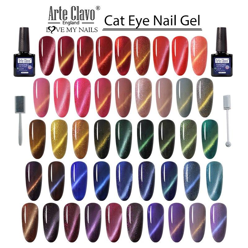 Гель-лак для ногтей Arte Clavo, 10 мл, полуперманентный Светодиодный УФ-лак для ногтей кошачий глаз, художественный Гель-лак для ногтей