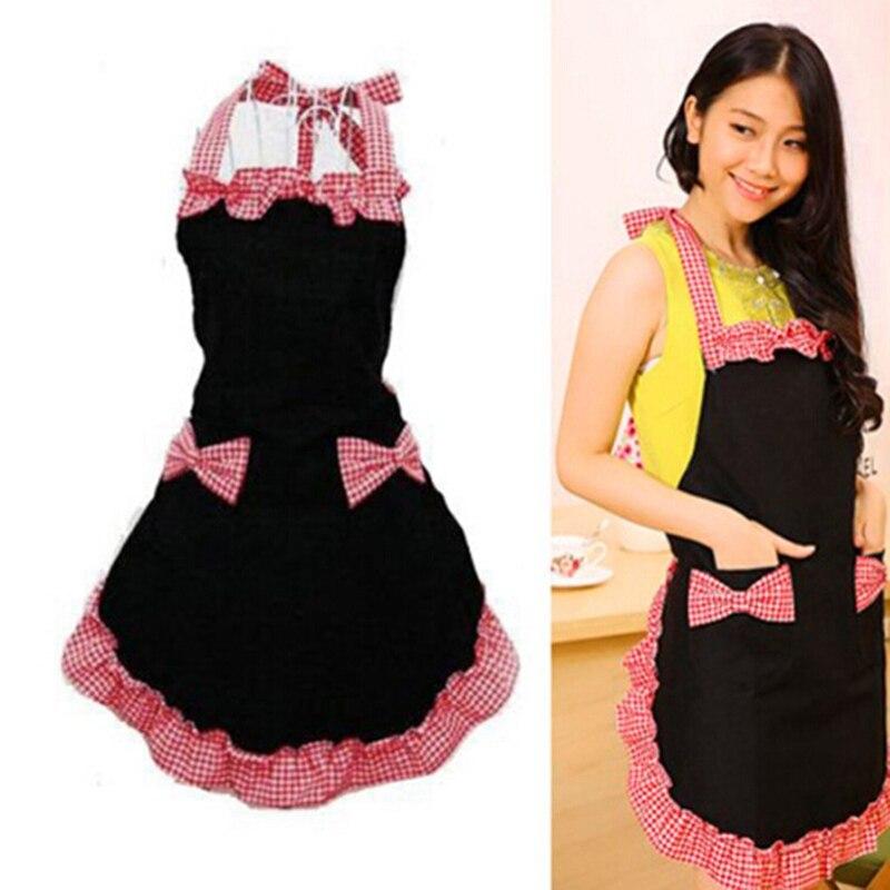 Kitchen Apron Cute Kitchen Bar Cleaning Dress Bib Aprons Flirty Vintage Kitchen Womens Bowknot With Pocket Gift