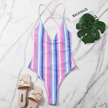 Sommer Frauen Badeanzug Gestreifter Momokini  1