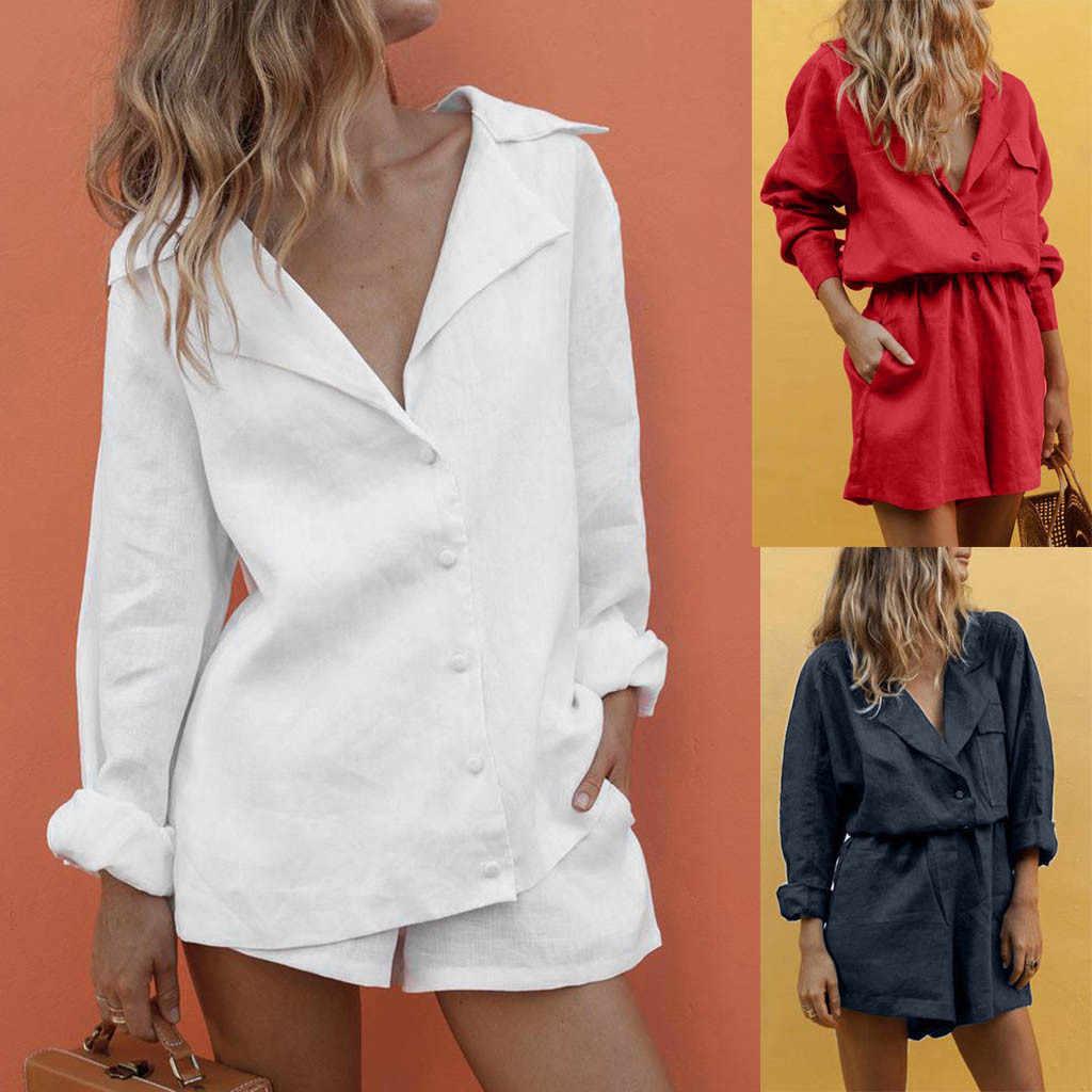 2 parça Set kadın 2020 V boyun ince yaz pamuk yaka düğmesi mizaç takım elbise şort takım elbise yaz rahat plaj beyaz eşofman