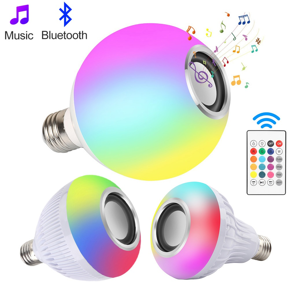 Smart RGB LED Bulb Wireless Bluetooth Speaker Music Playing Spotlight Lamp Led Light For Bar Party Stage Lighting Remote Control