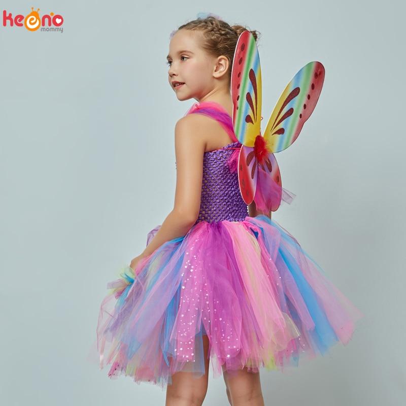 Girls Butterfly Fairy Fancy Tutu Dress Wings Costume Kids Princess Birthday Party Halloween Cosplay Kids Spring Tulle Dress 4
