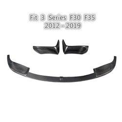 F30 przednia część rozdzielająca nakładki zderzaka z włókna węglowego przedni zderzak samochodowy dyfuzor Splitter wargi ciała zestawy fit F30 F35 2012 2019 zderzak samochodu wargi w Zderzaki od Samochody i motocykle na