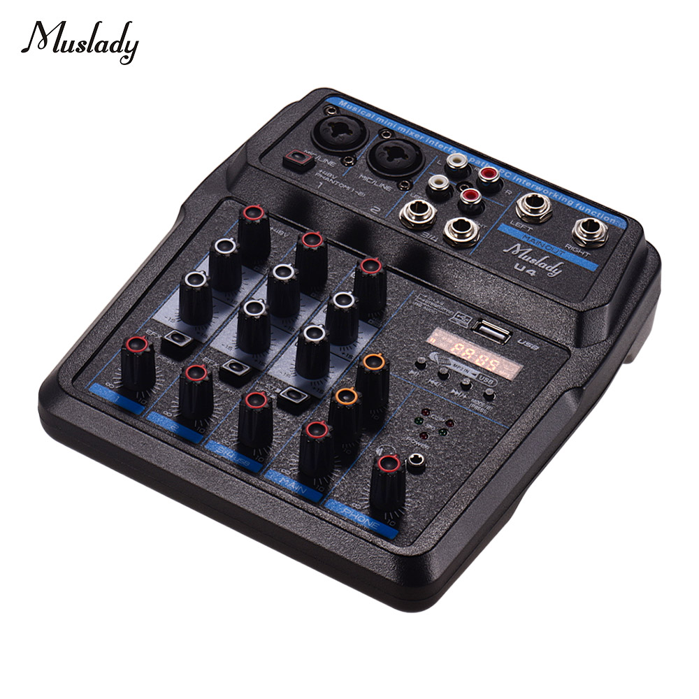 Muslady U4 Portable 4 Channels Audio Mixer BT USB Mixing Console With Sound Card Built-in 48V Phantom Power EU Plug