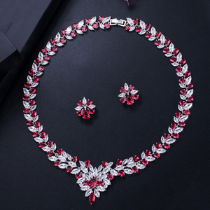 Image 4 - CWWZircons Sparkling Yellow Cubic Zirconia Wedding Necklace Earring Set for Women Luxury Bridal Jewelry Accessories T262