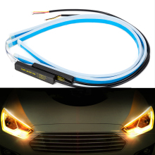 2x ультратонкие автомобильные DRL 30 45 60 см светодиодный дневные ходовые огни Светодиодный белый указатель поворота желтая направляющая лента для сборки фар