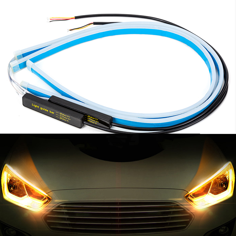 2x Ultrafine Cars DRL 30 45 60cm LED Daytime Running Lights LED White Turn Signal Yellow Guide Strip For Headlight Assembly