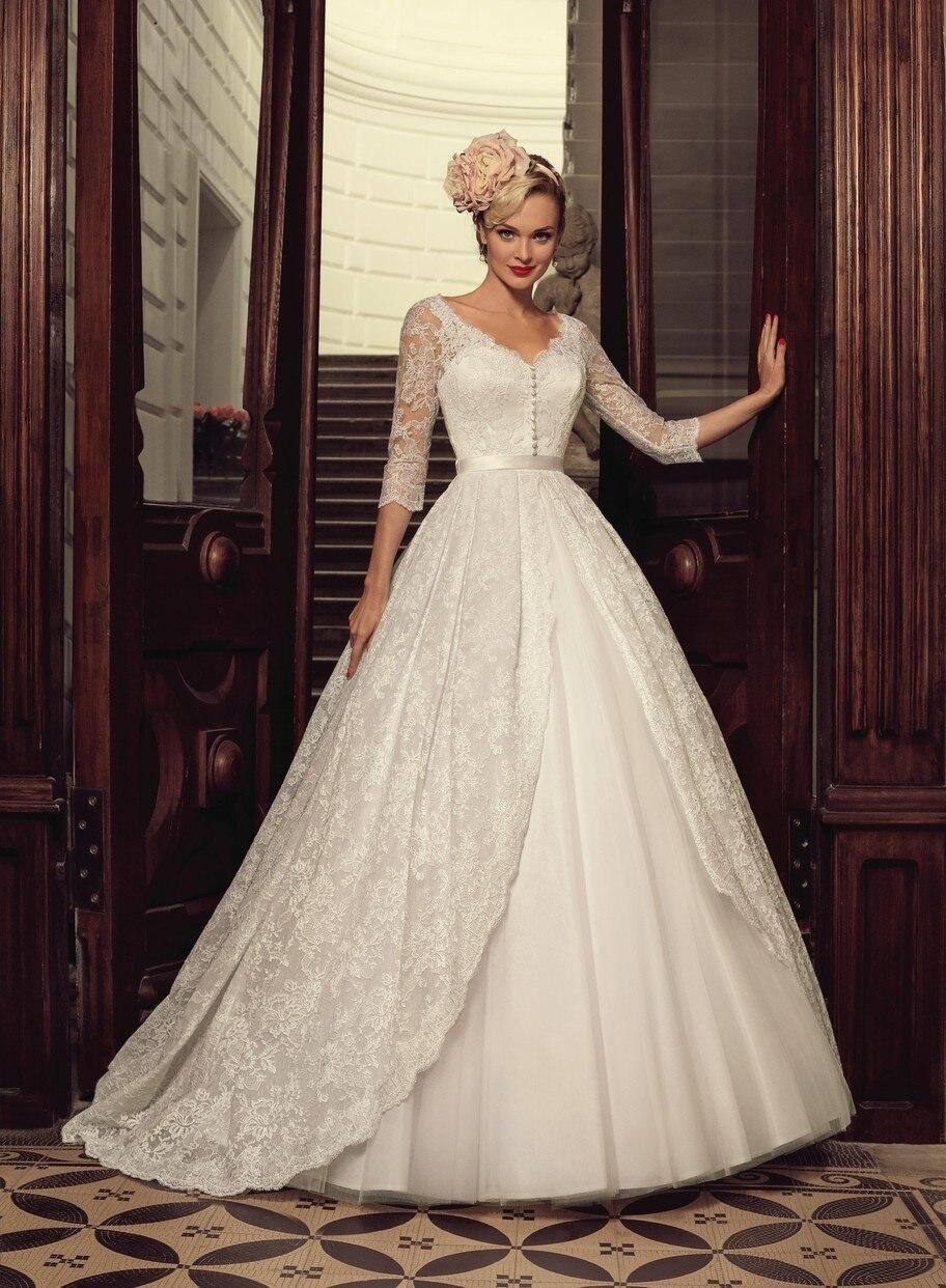 Elegant Muslim Wedding Dresses With Lace Sleeves Ball Gown 2016 Long Vintage Bridal Gowns Vestido De Noiva Princesa BW83