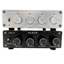 HIFI sin pérdidas 1 entrada 4 salida RCA HUB distribuidor de Audio Selector de señal conmutador de fuente ajuste de volumen de tono para placa amplificadora