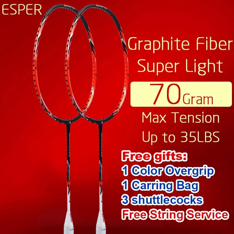 Raquette de Badminton ESPER 70 grammes en Fiber de carbone raquette légère en Graphite Offensive professionnelle avec des volants de sac à cordes