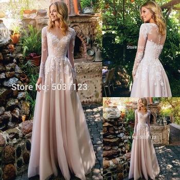 Champagne A Line Wedding Dresses Lace Appliques Floor Length Long Sleeves Scoop Vestido De Noiva Bridal Gown Robe De Mariée