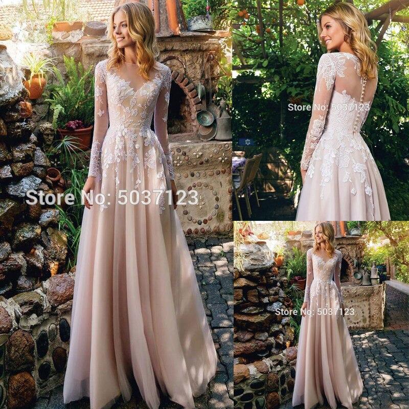 Champagne A Line Wedding Dresses 2020 Lace Appliques Floor Length Long Sleeves Scoop Vestido De Noiva Bridal Gown Robe De Mariée