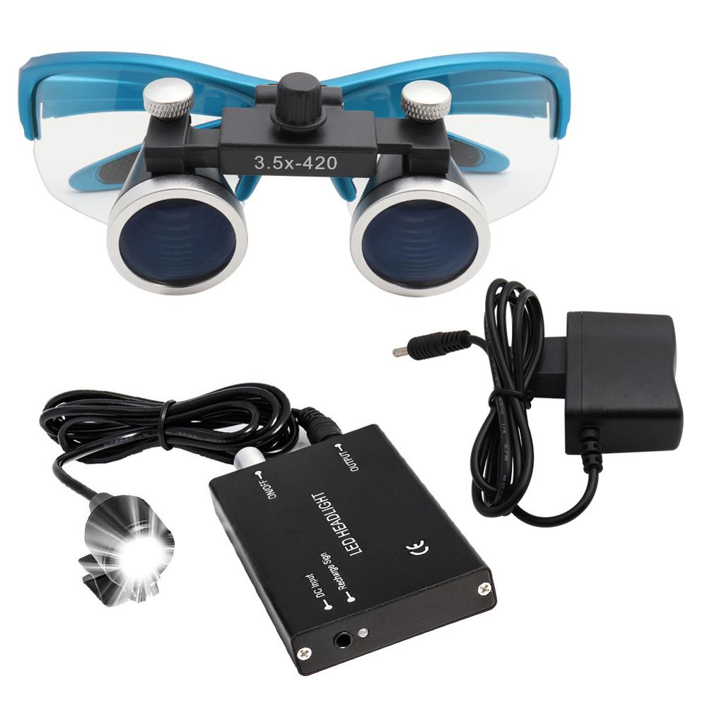 2.5X/3.5X Dental Loupe With Headlight Dental Lab Medical Loupe Magnification Binocular Dental Magnifier 4 Colors 3W Headlight