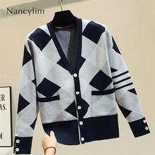 Cardiagn Women Lazy Wind Autumn New Loose Knitting Jacket Lady Temperament V Neck Coat Femme Cardigans Nancylim
