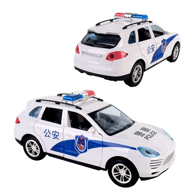 2875 # Universal Wheel Door Opening Police Car CHILDREN'S Electric Toys Police Car Boy Shining Sounding Toys