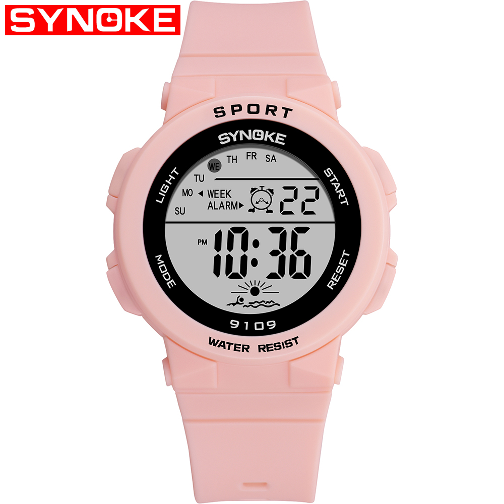 SYNOKE Fashion Ladies Watches Digital Sports Women Watch 50m Waterproof Boys Girls Students Wristwatch Alarm Relogio Feminino