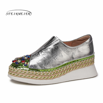 Women flat shoes 2020 genuine leather laces flats platform brogues ladies summer woman gladiator flat rubber sole shoes