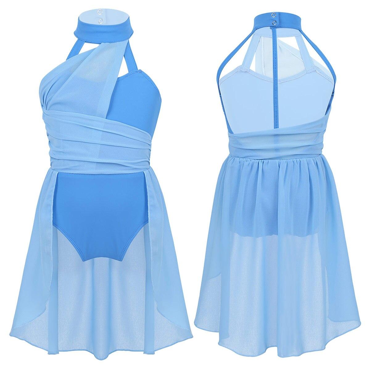 Kids Sleeveless Ruched Chiffon Bodice Caged Back Skating Modern Ballet Dance Dress Contemporary Girls Lyrical Dance Costumes