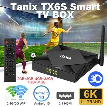 Tanix TX6S Smart TV Box Android 10.0 8GB 32GB 64GB Quad Core 6K Dual Wifi Allwinner H616 Youtube Media Player Bluetooth Top Box