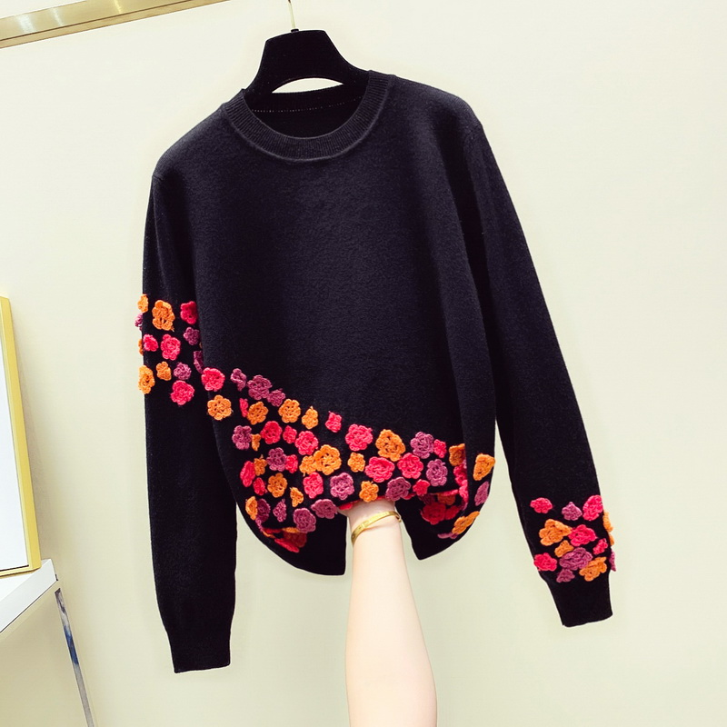 Harajuku Three-dimensional Flower Knitted Jumper Pullover Lady Autumn Winter Round Neck Long Sleeve Sweater Women White Sweaters