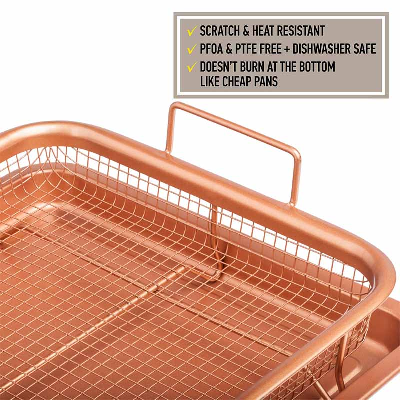 teenra microwave oven copper baking tray barbecue tray fry pan non stick chips basket baking dish grill mesh kitchen tool