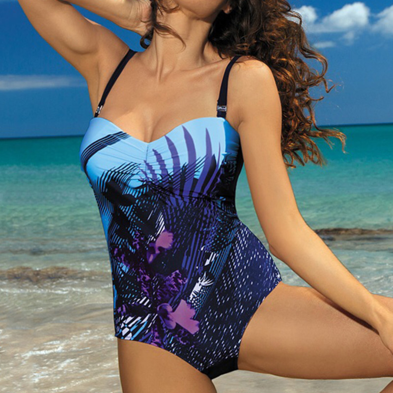 Sexy One piece Swimsuit Closed Large Size Print Swimwear Women Flower Push Up Swimsuits Body 2019 Female Beach Bathing Suit XXL