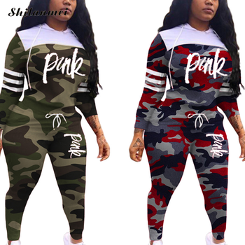 New Pink Letter Print Sportwear Casual Two Piece Tracksuit Women Camouflage Hoodies + Skinny Pants Suit Streetwear 2pcs Outfits