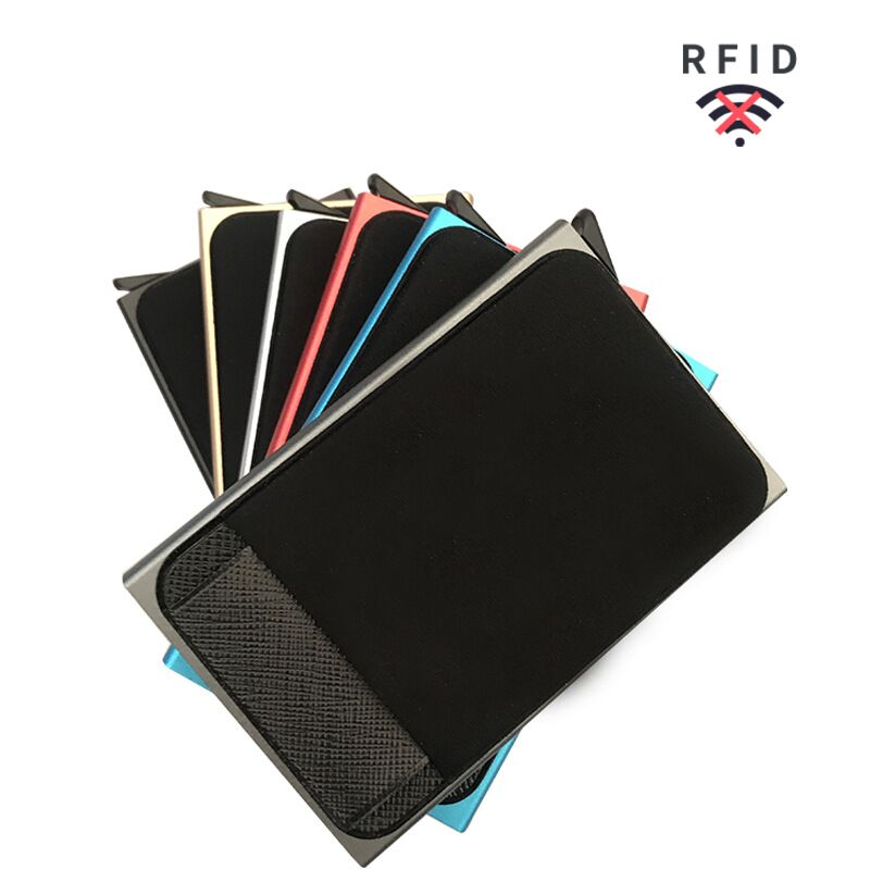 Men Business Aluminum  Cash ID Card Holder RFID Blocking Slim Metal Wallet Coin Purse card case  credit card wallet rfid wallet 4