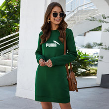 2021 latest spring and autumn fashion women's sweatshirt solid color long-sleeve personality loose casual dress vestido de mulhe