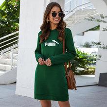 Новинка 2021, весенне-осеннее модное женское однотонное свободное Повседневное платье-свитшот с длинным рукавом
