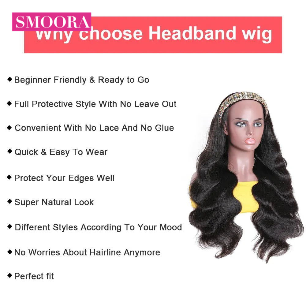 Headband Wig 100%  Scarf Wig   Body Wave for African American Women Affordable Headband Wig Beginner 3
