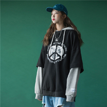 цена на Women Fake Two Piece Patchwork Print Hoodie Letter Drawstring Hooded Top