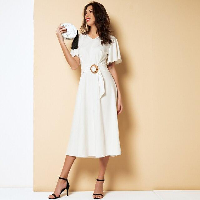 V-neck Elegant Midi Dress