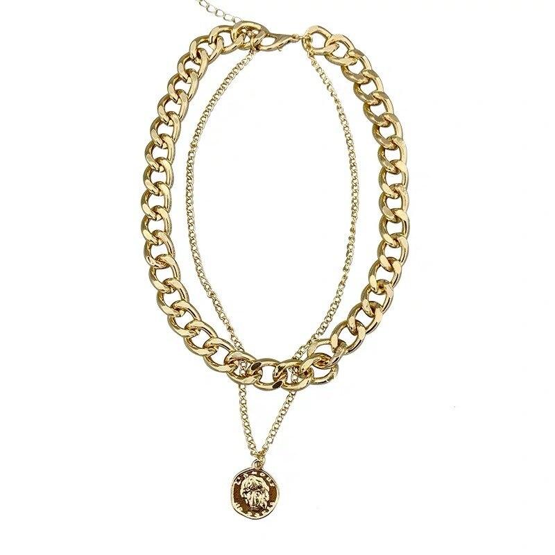Новое ожерелье хип хоп мульти цепи Чокеры ожерелья для женщин панк ювелирные изделия винтажная металлическая головка монета подвеска, ожерелье короткое| - AliExpress