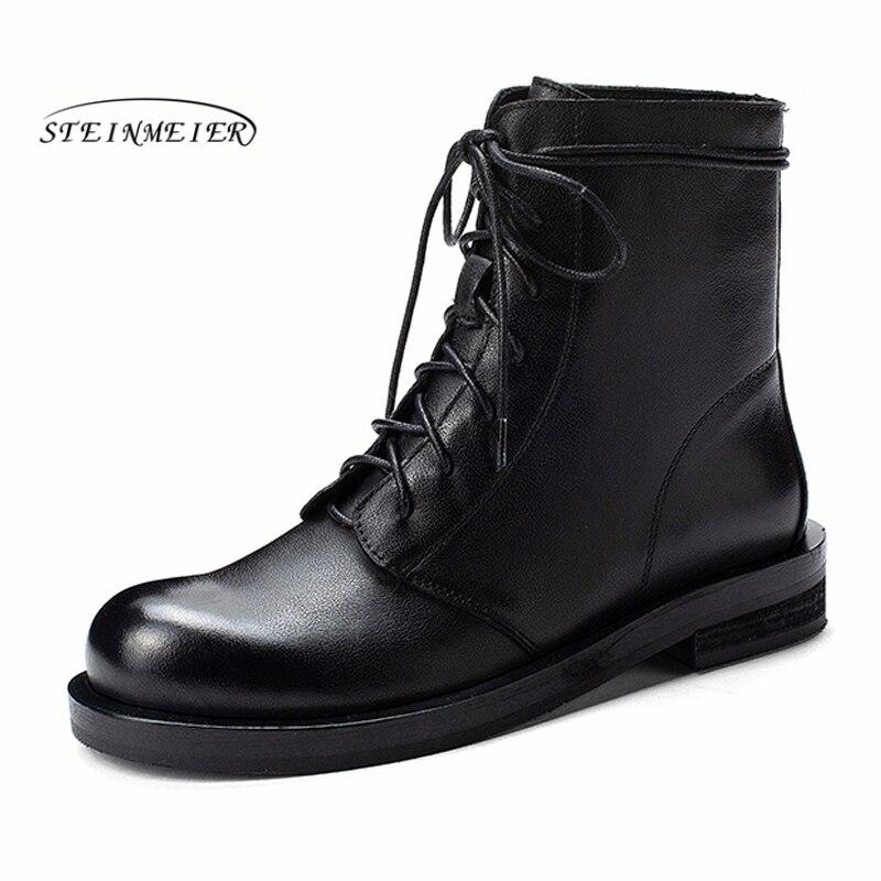 النساء جلد طبيعي حذاء من الجلد دراجة نارية الأربطة الأحذية الشتاء مشبك جلد كعب مسطح قصيرة الأربطة الأحذية الأحذية 2019-في أحذية الكاحل من أحذية على  مجموعة 2