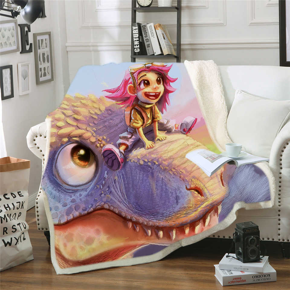 3D Printed Terrorist Cat Carton Dinosaur Throw Blanket Purple Gothic Sherpa Fleece Blanket Dangerous Monster Quilt Battaniye