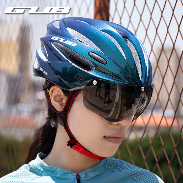 Gub k80 capacete de ciclismo com viseira óculos magnéticos integralmente-moldado 58-62cm para homens mulher mtb estrada bicicleta capacete 1