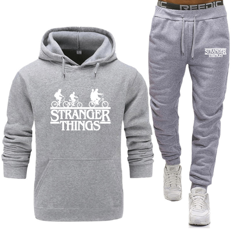 Sets Tracksuit Men Autumn Stranger Things Hooded Sweatshirt Drawstring Outfit Sportswear 2020 Male Suit Pullover Two Piece Set