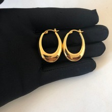 10 gold round coated cakeboard 12 ct Brass HOOP Earing Women Accessories Gold Coated Egg Shape Barbell French Style Chunky Simple 24K Trendy Copper Round Metal 58671