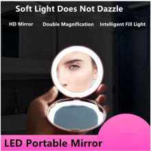 Portable LED Lighted Makeup Mirror Folding Magnifying Round Cosmetic Vanity With Light Beauty Tool