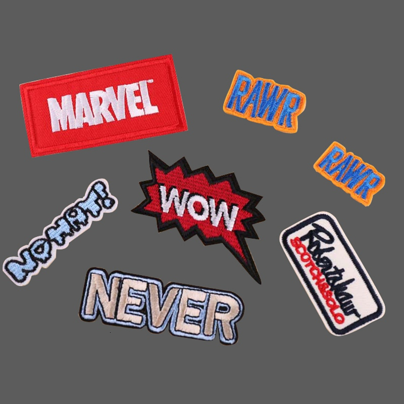 <font><b>Marvel</b></font> Wow English Letter Embroidery <font><b>Patches</b></font> <font><b>for</b></font> <font><b>Clothing</b></font> DIY Stripes Written Words Sticker Clothes Letters Iron on Badges image