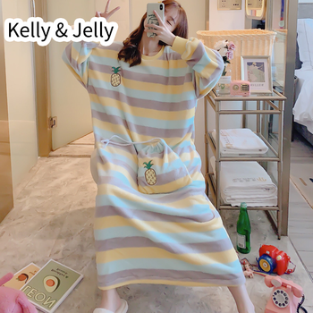 Autumn and winter nightdress women's coral velvet ins pineapple stripe large loose flannel nightdress women's home clothes
